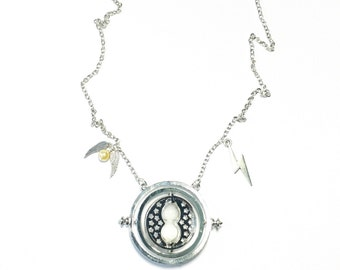 Silver Tone Spinning Hourglass Necklace