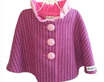 Size 2-3 years Girls Harris Tweed Collared Cape, Girls Cape, Winter Cape, Tweed Cape, Wool Cape, Toddler Cape, (Purple Kaona) READY TO SHIP