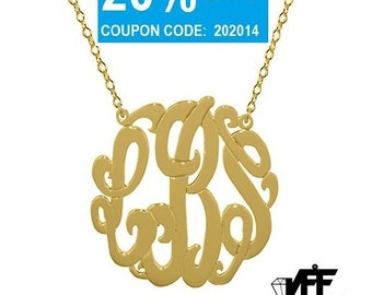 """Any Initial 18k gold Monogram necklace - gold monogram necklace 1"""" gold plated 18k on .925 silver"""