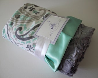 Paisley Baby Minky Blanket in Mint, Gray, Charcoal, and White with a Gray Embossed Vine Back and Soft Satin Trim - Baby Shower, Crib Bedding