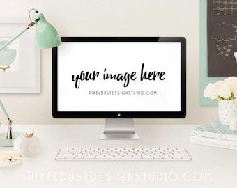Mint & Gold / Mac Computer Desktop Mockup / Styled Scene / Commercial Use