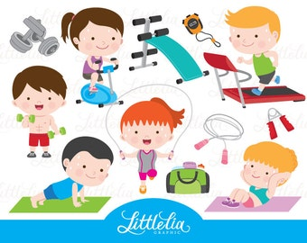 Gym clipart - exercise clipart - health clipart - 16078