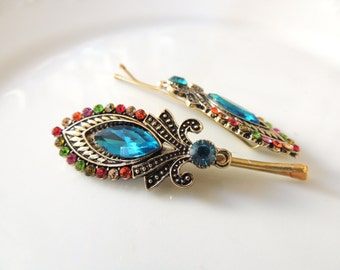 Amazing Colorful Hair Clip vintage Pin on your Hair Scarf, Unique Vintage Style Pin with Turqoise Stone, Vintage Clip , Bobby Pins
