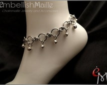 Submissive Jewelry, Slave Bells, Gorean Kajira: Pair (2) of Chainmaille Anklets w/ silver jingle bells  Discrete ankle collars.