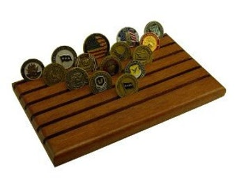 Military Challenge Coin Holder- Mahogany Red- 48coins