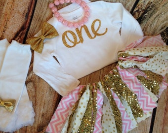 Baby girls birthday outfit / pink and Gold first birthday outfit / pink birthday outfit / gold scrap tutu / Pink and Gold / Fabric Tutu