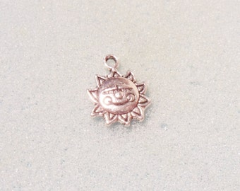 10 sun charms - double sided - tibetan silver - 16mm x 12mm - silver plated charm - smiley sun charm - made with a smile charm