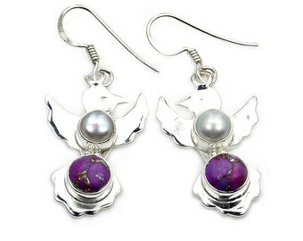 Purple  Mohave Turquoise, Pearl & Sterling Silver Exotic Birds Dangle Earrings ; AA863