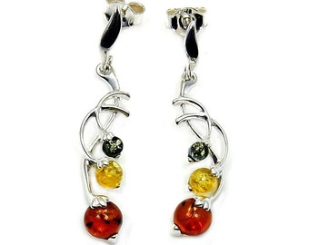 Natural Green and Honey Baltic Amber & Sterling Silver Dangle Earrings , Z776