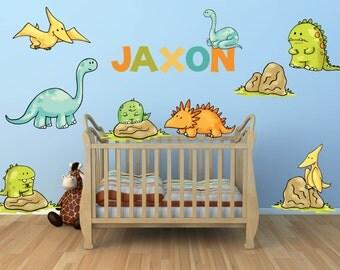 Dinosaur wall decal for kids bedroom boys dinosaur room for Dinosaur wall decals for kids rooms