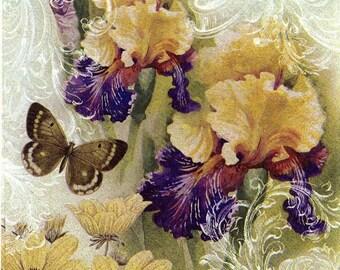 4 Decoupage Napkins | Orchids and Butterflies | Orchid Napkins | Floral Napkins | Garden Napkins|Summer Napkins|Paper Napkins for Decoupage