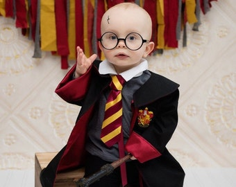 Harry Potter Inspired Toddler Wide Striped Tie & Shirt Collar Combo for Gryffindor, Hufflepuff, Ravenclaw, Slytherin; Hogwarts Photo Prop