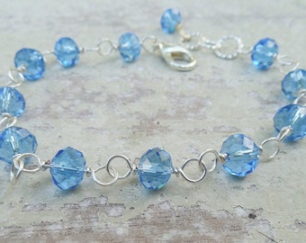 Powder Blue Crystal Bracelet / Wire Wrapped Bracelet
