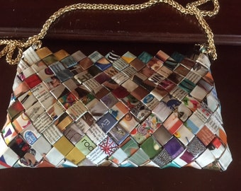 Purse handmade from laminated magazine pages