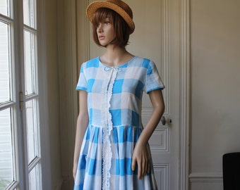 Vichy Doll dress gingham blue white large check 60s dress kawaii oversized gingham checkered cotton lace handmade vintage dress - XS / S