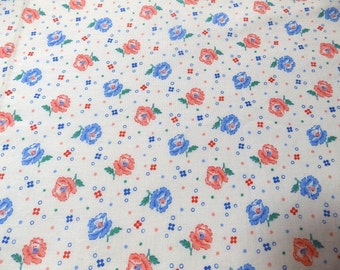 French vintage floral cotton fabric - 15