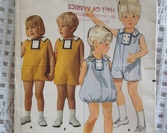 Vintage 60s Toddlers Playsuit Pattern Butterick 4812 Size 1/2 Breast 19 CUT