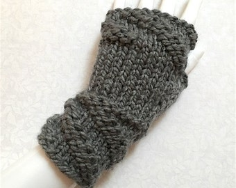 Knit Fingerless Gloves, Grey Hand Warmers, Fingerless Mitts - Twisted-Cuff Bulky (Med Grey)