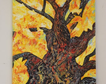 """The Heart of an Old Tree - 24"""" x 36"""" Original Unframed Acrylic Painting"""