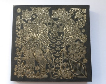Sketch book. Note Book. Handmade Gold Elephant screen printed book. Blank Book.