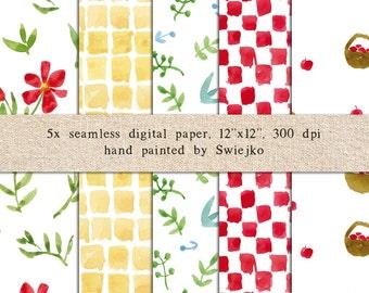 Watercolor Digital Paper, Watercolor Pattern, Seamless, Floral Paper, Summer Pattern, Printable Paper, Printable Pattern (17)