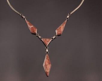Vintage Marble Necklace, Silver Tone 1970s Y Necklace