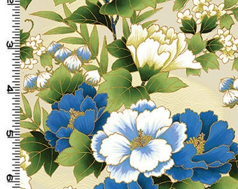 Peonies In Bloom: Blue Asian Japanese Quilt Fabric (1/2 yd)