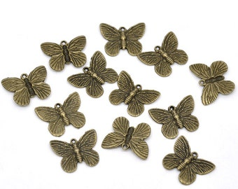 5 Antiqued Bronze Butterfly Charms