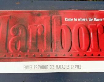 French vintage Marlboro metal sign