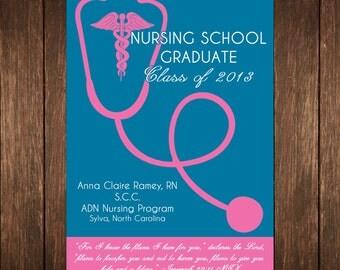 Nursing Graduation Announcement Invitation