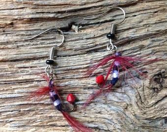 USC Gamecock earrings: Carolina fly fishing fly earrings