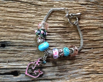 Mothers Day Pink and teal deer family bracelet: deer mom, dad, and baby, Mother's Day bracelet, Browning deer heart buck and doe with fawn