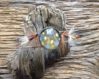 Brook trout skin and dry fly cuff bracelet: trout bracelet with matching flies