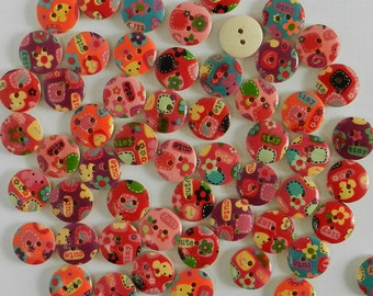15mm WOOD BUTTONS - Fun for quilting, crafts, scrap booking, sewing, toys, card making, wood button, DIY, kids crafts, home decor and more!