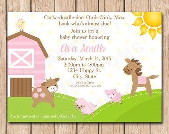 Girl Farm Baby Shower Invitation | Animals, Cow, Pig, Rooster, Horse, Sheep - 1.00 each printed