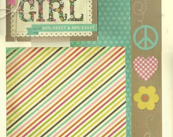 100% Authentic Girl - 2 page scrapbook layout kit