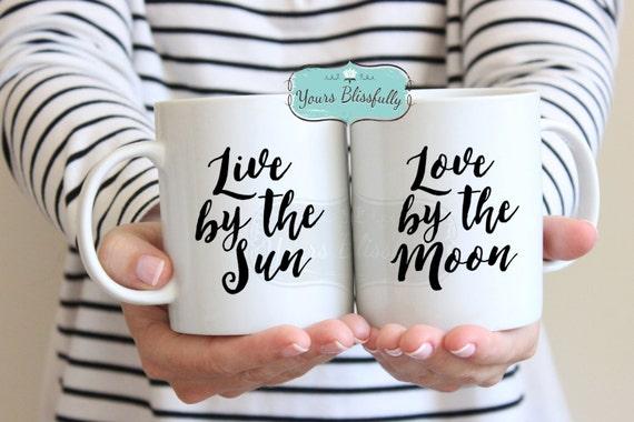 Moon Mug, Love by the Moon Mug, Live by the Sun Mug, Spiritual Mug, Meditation Gift, Moon Love, Zen Gift, Zen Mug, Yoga Mug, Yoga Gift