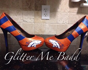 Broncos striped Glitter heels
