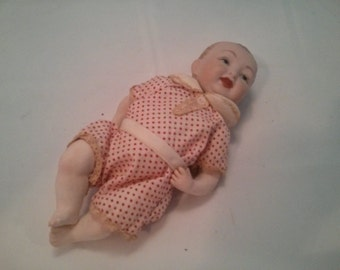 Vintage Creepy Small Baby Boy Porcelain Doll