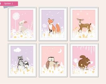 Girls Woodland Nursery Decor, Baby Animal Nursery, Pretty Forest Animals, Children's Art, Bunny, Fox, Owl Nursery, Forest Critters
