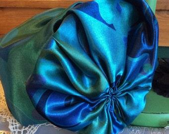 Pill Box Vintage Hat, Blue-Teal & Greens. Satin