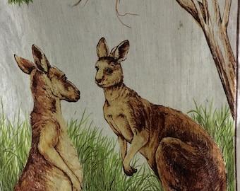 Ausrailaian Linen / Australian Made / Kangaroo Design Linen by Ross