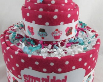 Girl diaper cake   Baby diaper cake    Diaper cupcake    Baby shower gift   Baby sprinkle decoration   New mom gift   Unique baby gift