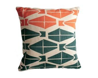 """Minimalist Throw Pillow - 18""""x18"""" Decorative Pillow with Blue + Coral Modern Design - Scandinavian Modern Linen Pillow Cover - Accent Pillow"""