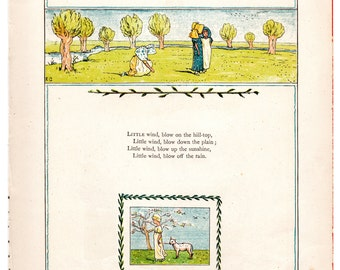 Kate Greenaway chromolithograph Little wind, blow on the hill top / Indeed it is true c1880 wall childrens nursery art #00005