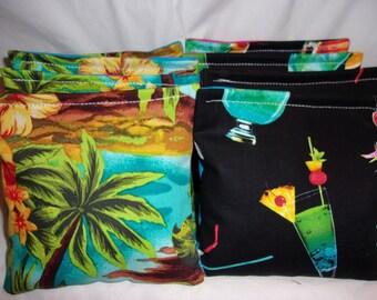 8 ACA Regulation Cornhole Bags - 4 Hawaiian Hibiscus and Palm Trees & 4 Mixed Cocktails Drinks