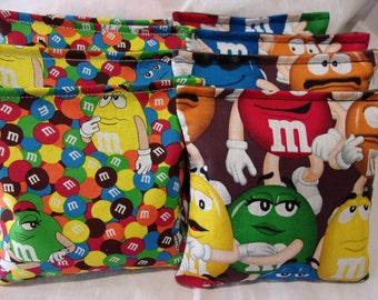 8 ACA Regulation Cornhole Bags -  M & Ms Candies on 2 Different Prints