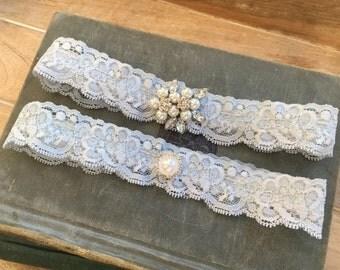 "Blue Lace Wedding Garter Set, Something Blue Bridal Garter Set, Blue Wedding Garters, Blue Garters w/ Pearls & Crystals, ""Paige"" Garter Set"