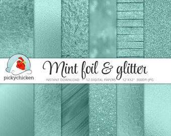 Mint Digital Paper, mint foil, mint glitter paper, mint metallic, mint faux foil, mint glitter wood, aqua foil, photography backdrop 8084
