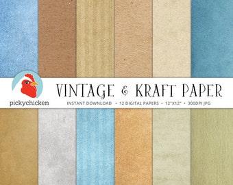 Vintage Digital Paper, Kraft Digital Paper, digital parchment, antique paper, teal, sepia, distressed texture, photography backdrop 8088
